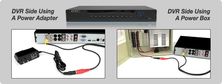 DVR using power adapter and box